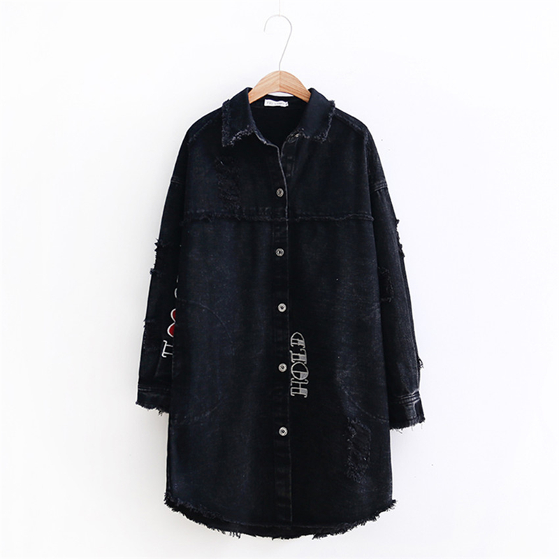 Fashion Large Size Women's Long   Trench   Coats 2018 Spring Autumn New Plus Size Loose Korean Hole Denim Coats Black Outerwear A305