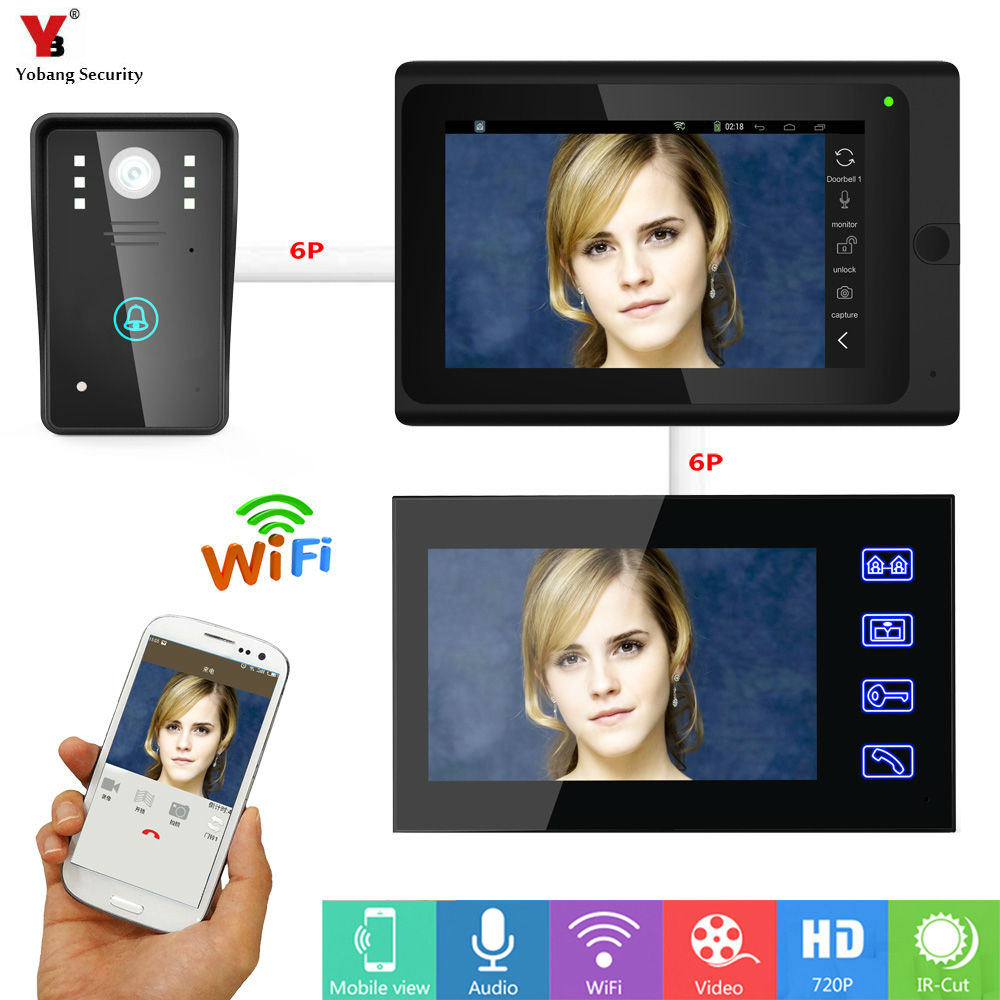 Yobang Security 7inch 2 monitors Wired / Wireless Wifi IP Video Door Phone Doorbell Intercom Entry System with 1000TVL Wired Cam yobang security freeship 3 5inch monitor wireless video intercom doorbell door phone intercom system intercom door bell phone