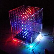 Renkli Işık Küpleri DIY Kiti 8X8X8 WIFI Cep Telefonu APP Değişim Kelime 888 LED Yanıp Sönen Akıllı elektronik Üretim Parçaları H...