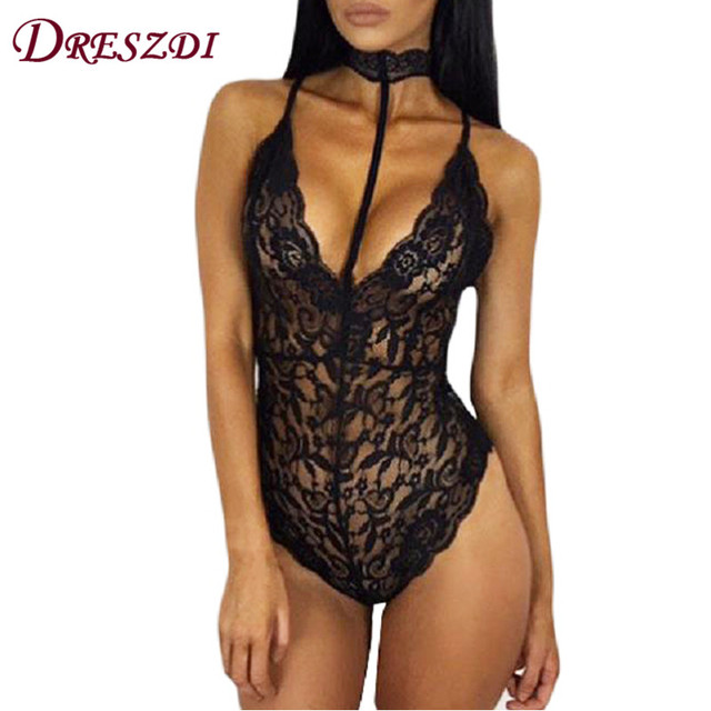92786a7c3fd Dreszdi 2017 Cute Choker Neck See Through Lace Bodysuit Women Sexy Body  Club Wear Bodycon Rompers Overalls