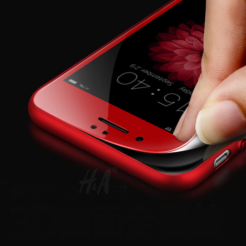 H&A 3D Full Cover Films Red Tempered Glass for iphone 7 Screen Protector Red PET Glass For iphone 6 6s Screen Protector