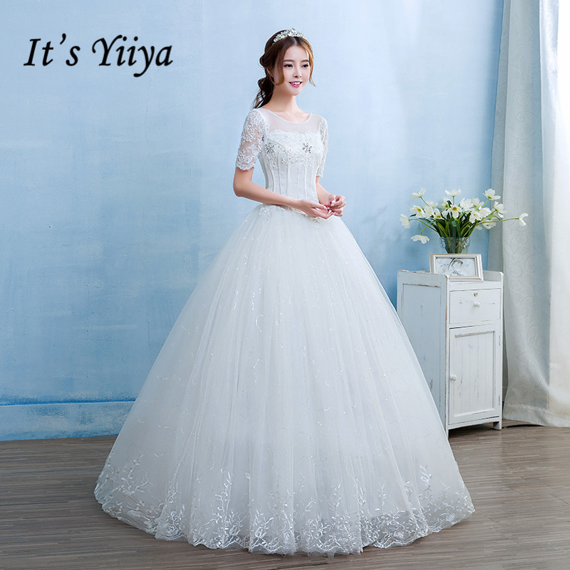 Free Shipping 2017 New Real Photo Cheap White Lace Up Wedding Dresses O-neck Short Sleeves Lace Bride Frock Princess Gowns HS240