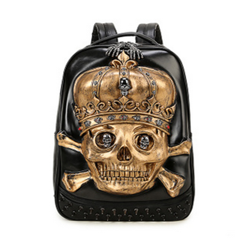 Steelsir 2018 New Fashion Men Personality Travel Backpack Gothic Crown Skull Rivet Motorcycle Ride Unique 3D Backpack Steelsir 2018 New Fashion Men Personality Travel Backpack Gothic Crown Skull Rivet Motorcycle Ride Unique 3D Backpack