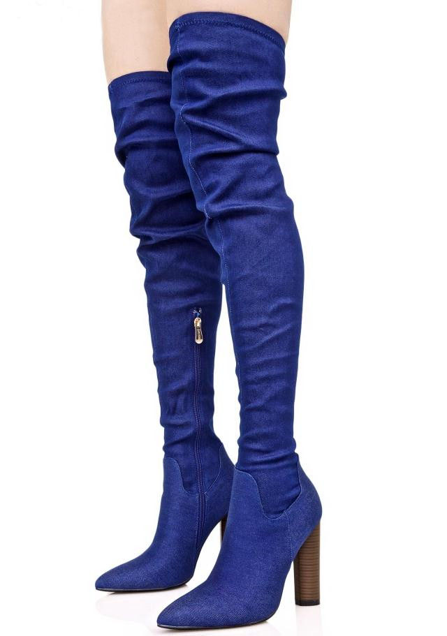цена на New Stylish Denim Pointed Toe High Heel Botas Mujer Over the Knee Thigh High Boots Spring Autumn Party Dress Shoes Women