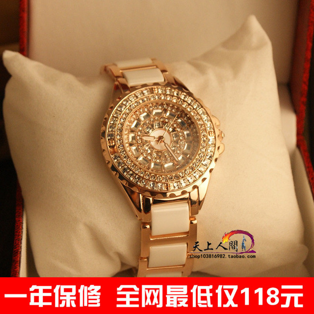 Luxury rhinestone full rhinestone ceramic watchband ladies watch