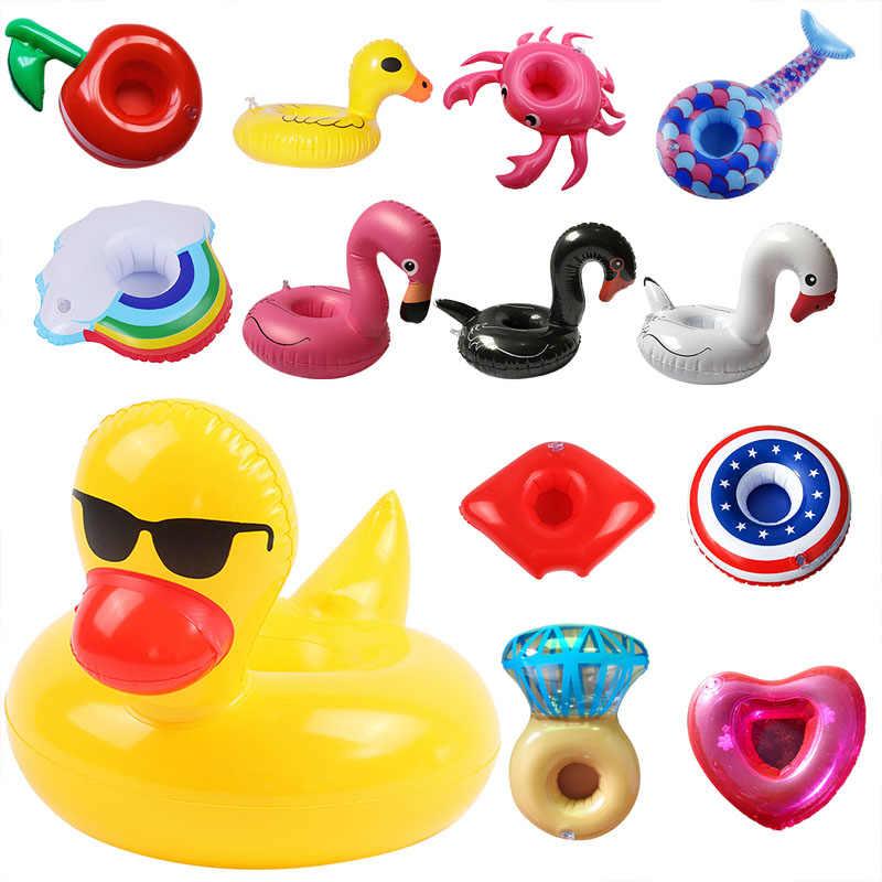 Inflatable ถ้วยผู้ถืออุปกรณ์สระว่ายน้ำเครื่องดื่ม Flamingo ลอย Donut Pool Float แหวนว่ายน้ำของเล่น Beach Bar Mini