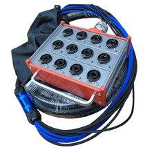 KUILONG Pro Audio 12 kanaals Podium Snake Kabel met XLR COMBO JACK DOOS 15FT A