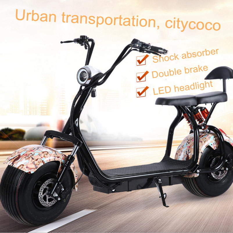 Citycoco Electric Motorcycle 1000w Lithium Battery Double Seat Air bag shock absorption LED headlights Customizable Scooter