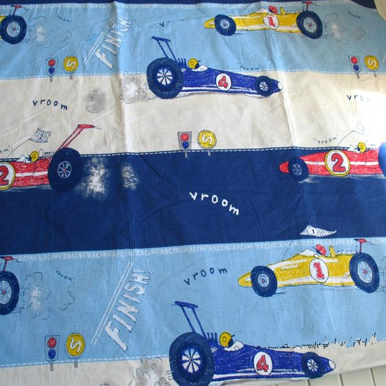 cartoon Kart racer AB twill 100% cotton cloth kids baby bedding textile fabric for sewing patchwork quilting width 1.6M