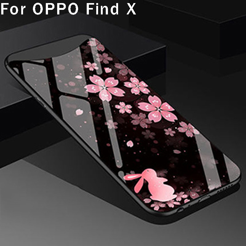 For OPPO Find X case cover fashion tempered glass back cover For OPPO FindX phone cases shell fundas capas skin For OPPO Find X