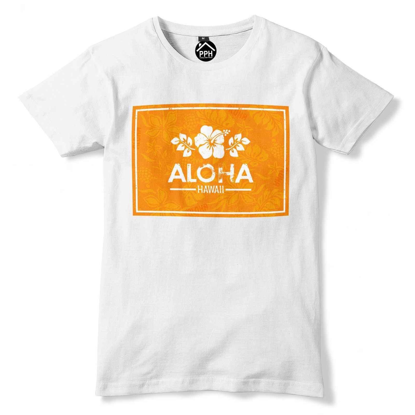 Aloha оранжевая коробка Гавайская футболка тропические цветы морской Топ Geek Surfing Rad 368 Летняя мужская модная футболка, удобная футболка