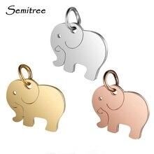 Semitree 5 шт./лот из нержавеющей стали животных милый слон подвески кулон розовое золото изысканный Шарм для DIY ювелирных изделий