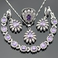 Purple White Bubic Zirconia Silver Color Jewelry Sets For Women Earrings Bracelet Rings Necklace Pendant Christmas Free Gift Box
