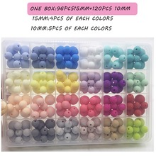 Silicone Teething Accessories Beads Set of 15mm and 12mm ball beads Silicone Teething bracelet Beads