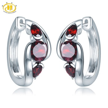 Hutang 2.85ct Natural Garnet Women's Hoop Earrings Solid 925 Sterling Silver Fine Red Gemstone Jewelry Classic Design for Gift