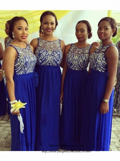 Online Shop Modest Royal Blue Bridesmaid Dress Beaded Chiffon Long