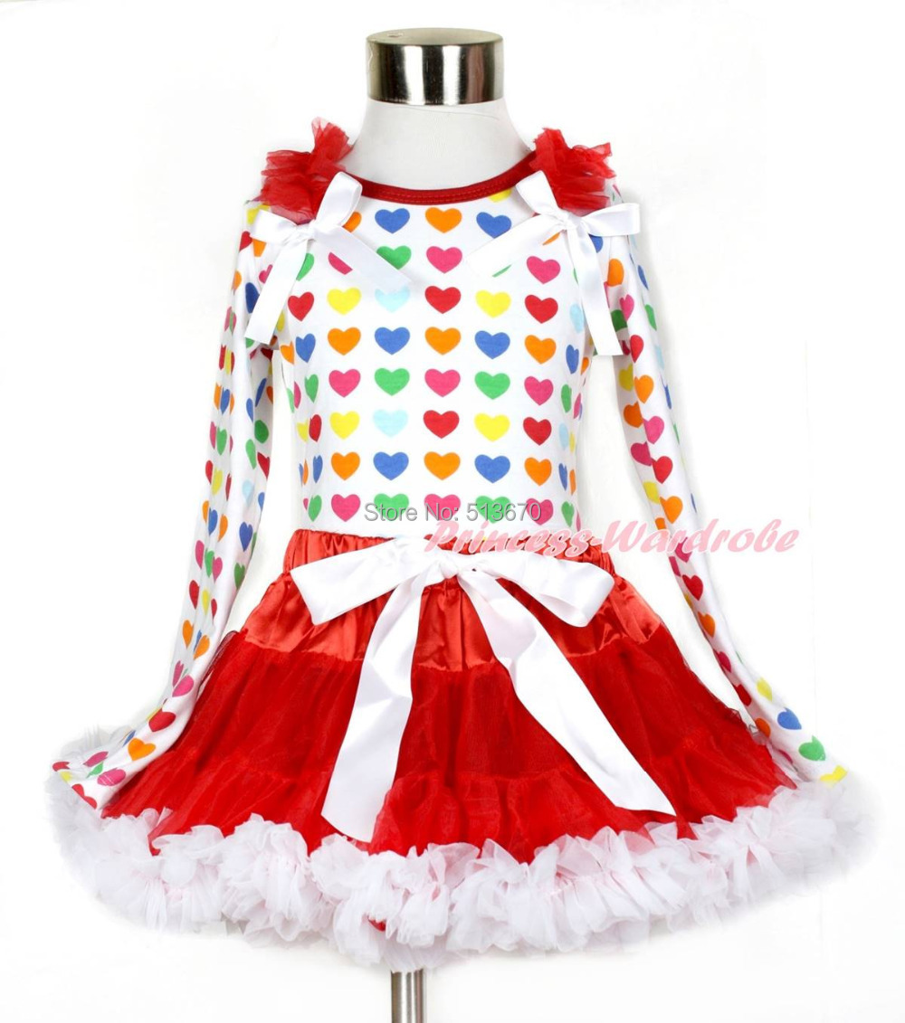 Valentine Ruffle Bow Rainbow Heart Tank Top Red White Girl Pettiskirt Set 1-8Y MAPSA0208 red black 8 layered pettiskirt red sparkle number ruffle red bow tank top mamg575