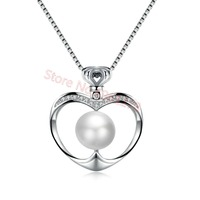 Apple Shape Pendant Necklace White Silver Filling Anniversary Wedding Necklaces