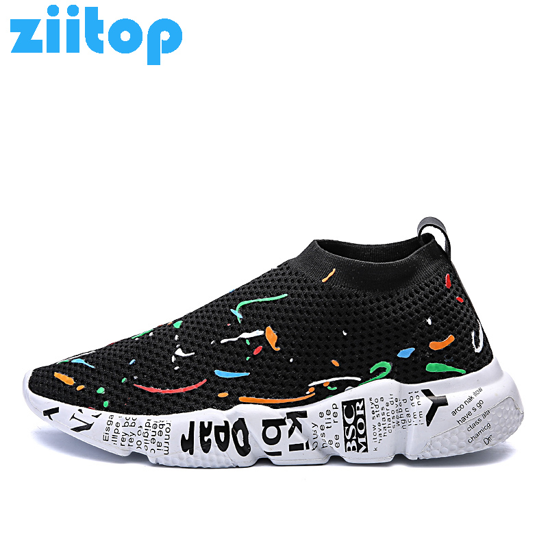 Ziitop Running Shoes for Men Slip on Breathable Sneakers Men Soft Rosh Run Athletic Sport Shoes Men Flats Outdoor Gym Shoes цена