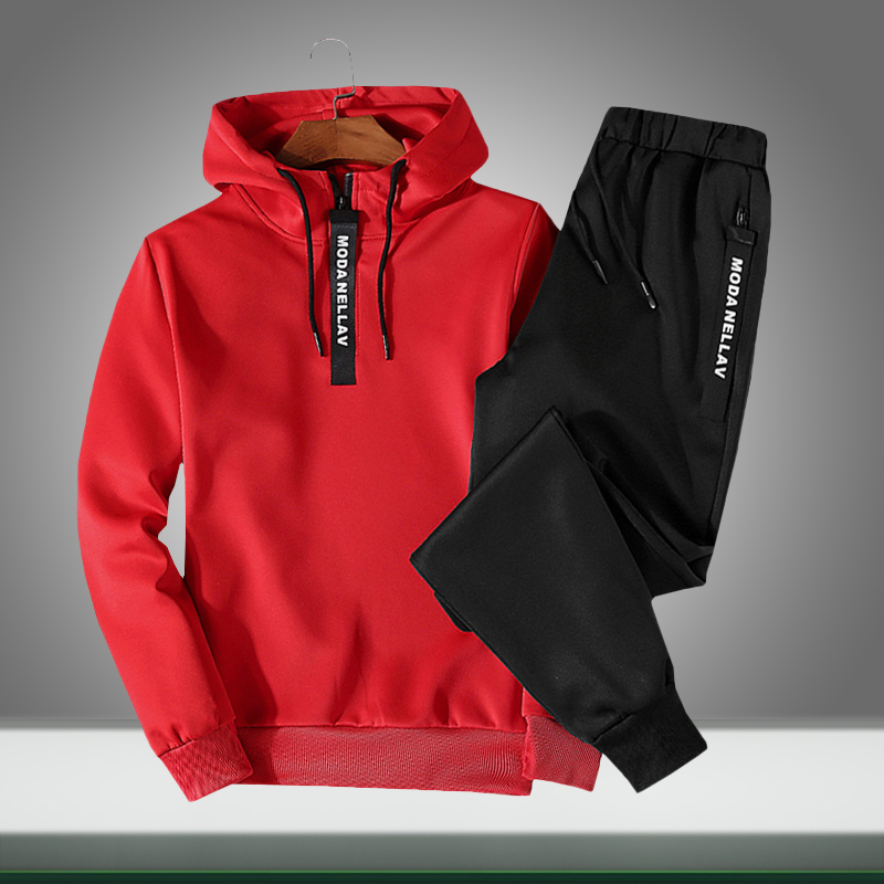 Men Casual Sets Hooded 2019 Autumn Solid Men's Outdoor Sportswear Tracksuits Loose Sweatshirt+Pants 2PC Sets Sudadera Hombre