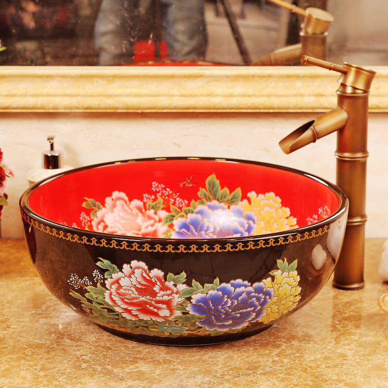 Oriental Hand Throwed Red Ceramic Porcelain Basin Sink For Hotel Toilet