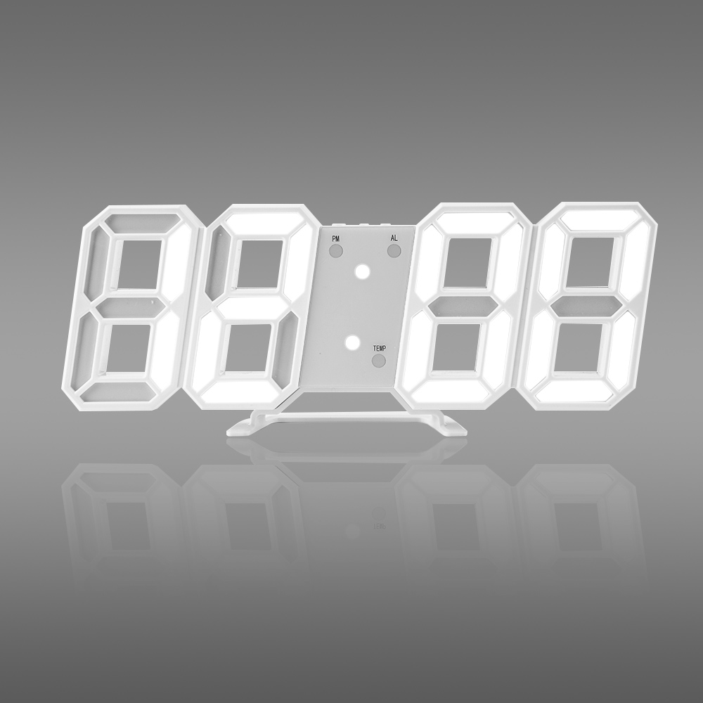 Hot! Time Large LED Digital Wall Clock Alarm Date Temperature Automatic Backlight Table Desktop Home Decoration Stand hang Clock(China)