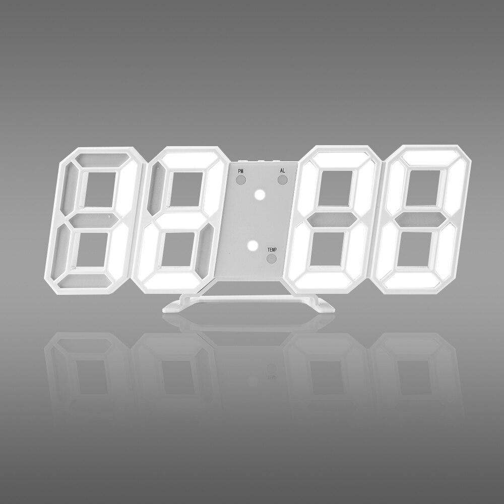 Chaud! Temps grand LED horloge murale numérique alarme Date température automatique rétro-éclairage Table bureau décoration de la maison support accrocher horloge
