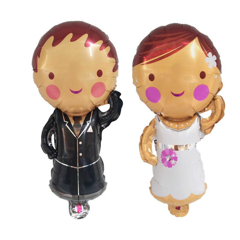 1 unid Mini hombres damas vestido de papel de aluminio globo Globos decoración de fiesta de boda Día de San Valentín DIY globo decorativo suministros juguetes para niños