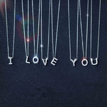 AAA CZ Crystal Letter Necklace Pendants Small Silver Initial Pendant womens necklace Jewelry Accessories 2019