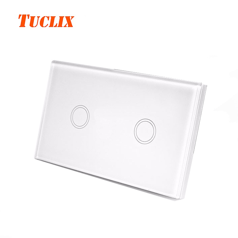 TUCLIX US Standard Remote Control Switch 2 Gang 1 Way ,RF433 Smart Wall Switch, Wireless remote control touch light switch us au standard 2 gang 1 way wireless remote control switch rf433 led wall switch touch light remote switch for smart home