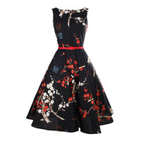 Retro Plum Flower Printed Over Knee Dress Traditional Chinese Style Patterns To Ladies Vintage Black Cotton