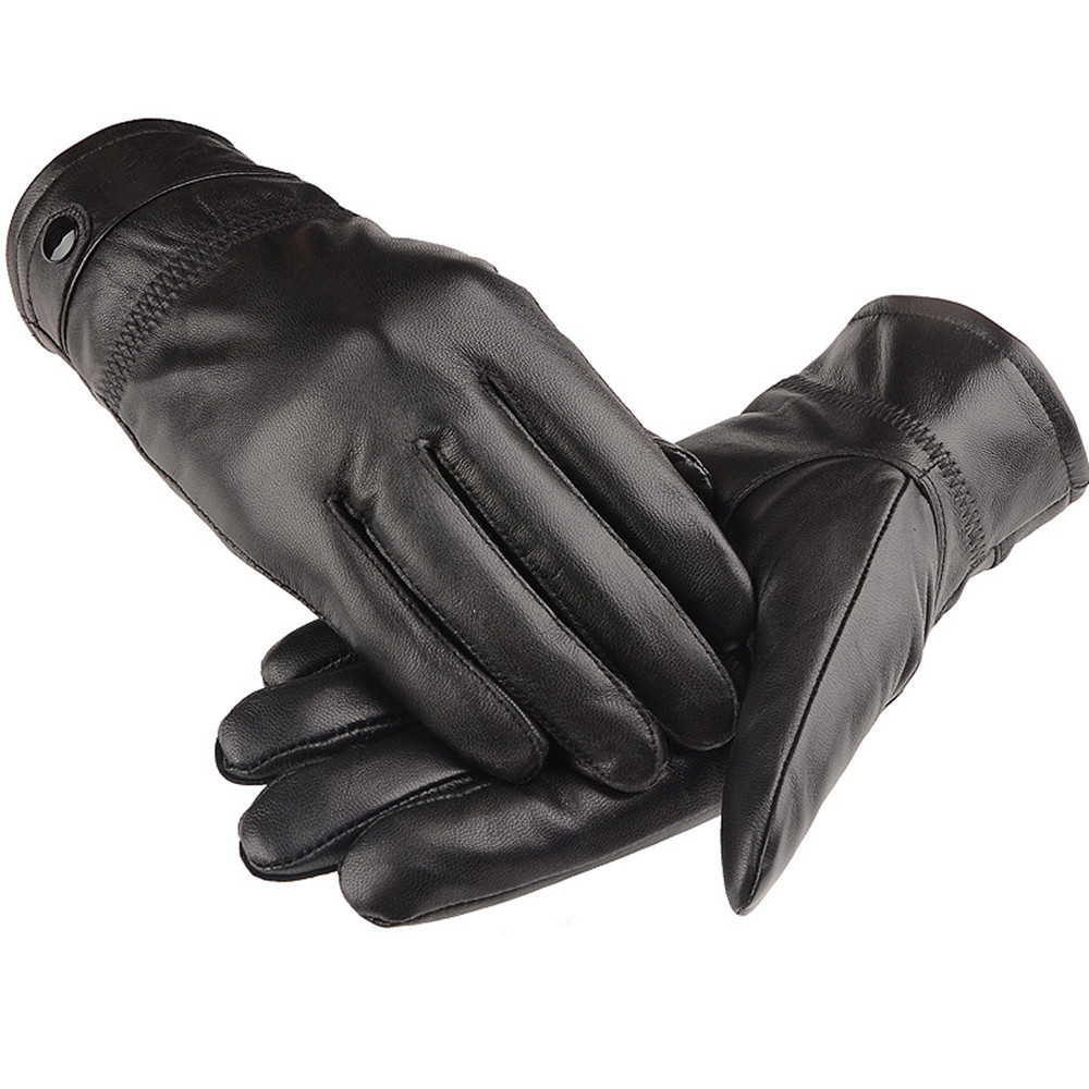 Black leather gloves on sale - Aliexpress Com Buy Hot Sale New Year 2017 Fashion Men S Autumn Winter Thick Warm Leather Gloves Lambskin Mittens Driving Black Gardening Gloves From