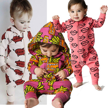 2018 New Infant Newborn Baby Boys Hooded Cotton Romper Baby French fries Print Jumpsuit playsuit Outfits Clothes MBR0196 1