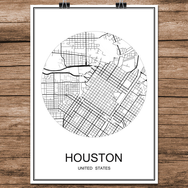 Abstract world city street map houston usa print poster coated paper cafe living room home decoration