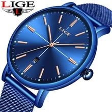 купить Relogio Masculino LIGE New Casual fashion Mens Watches Top Brand Luxury Date Watch Men Mesh full Steel Waterproof Quartz Watch по цене 1106.58 рублей
