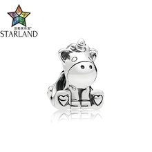 Starland 2018 cute unicorn charms fits charm bracelets original 925 silver Animal  jewelry making for mother