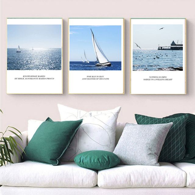 Abstract Nordic Simple Ocean Sailboat And Seagul Poster Canvas Wall Art  Paintings Pop Print Wall Pictures