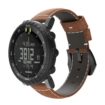 Bemorcabo for Suunto Core Watch Band,Luxury Leather Watch Replacement Strap Bracelet Bands for Suunto Core Smart Watch Brown for suunto core camouflage strap for suunto core frontier classic smart sports silicone replacement wristband strap accessory