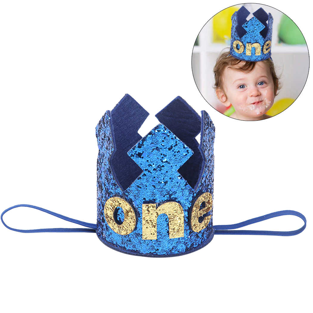 For Boys Girls Blue Gold First Birthday Hat Glitter Girl Princess Crown Number 1st 2 3