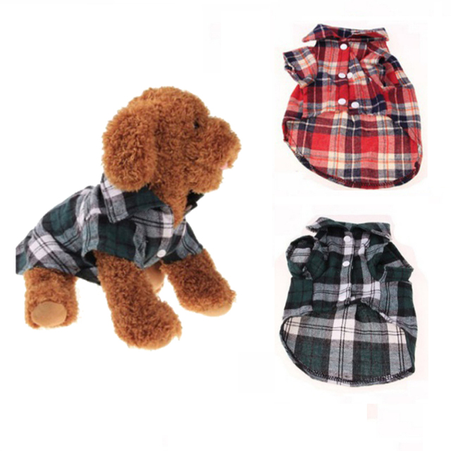 Dog Shirts Plaid England Style Dog Clothes Blouse Tops Shirts Summer Autumn For Pet Puppy Dogs Cats Clothes 4