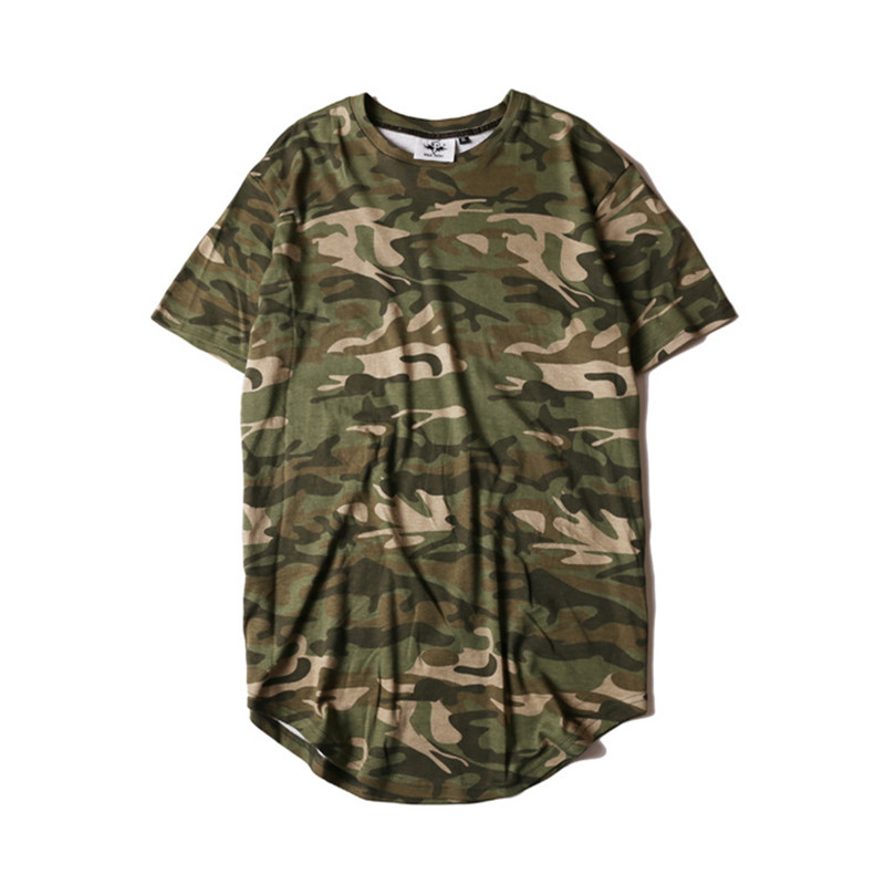 HZIJUE2017 Men's T-shirt summer Solid Color Curved Hem Long Line Camouflage Hip Hop Tshirt Elong Plain Kanye Tee Shirts Men Top 1