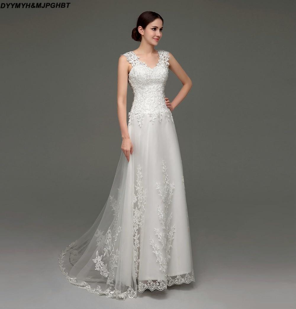Vintage A Line Wedding Dresses: Illusion Sheer Back Lace Bridal Gown Wedding Dresses