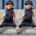 Macacão Nova Moda Casual Crianças Roupa do Menino Da Menina Do Bebê Roupas de Algodão Sem Mangas Bolso Moda Romper Macacão Meninos Roupas