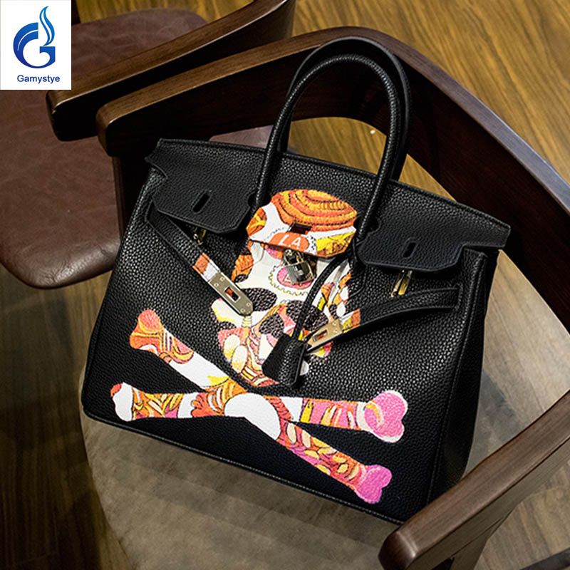 GAMYSTYE brand Women Real Leather Handbag Women Messenger Bags Hand Painted art bags Custom Design Colorful skull painting totes business fundamentals