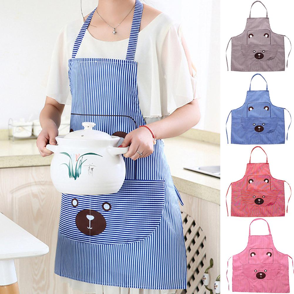 Cute Bear Design Sleeveless Aprons Kitchen Cooking Restaurant Apron Cover With Pocket Aprons