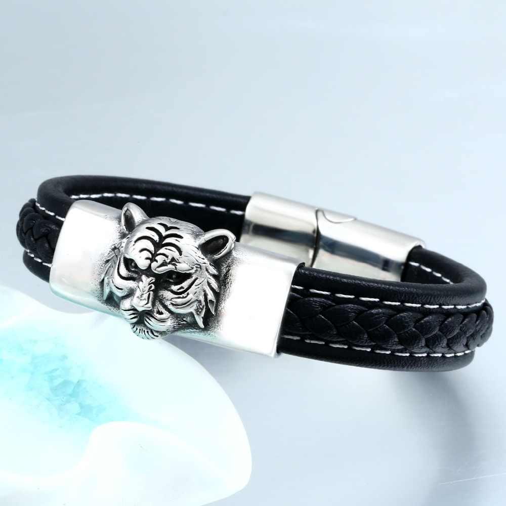 Beier браслет из натуральной воловьей кожи в классическом стиле для мужчин и женщин, браслет с тигром, модные ювелирные изделия, BC-L004