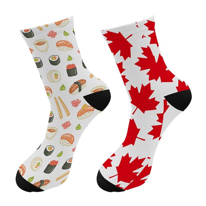 New Street Trend Maple Leaf Men Crew Tube Socks Funny Poker Card Snake Long Socks Harajuku Fish Scale Socks For Christmas Gift