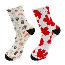 New Street Trend Maple Leaf Men Crew Tube Socks Funny Poker Card Snake Long Sock