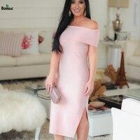 Boussac High Quality Bandage Rayon Dress Knitted Fabric Slim Fit Slash Neck Elegant Banquet Ceremony Fashion Dresses