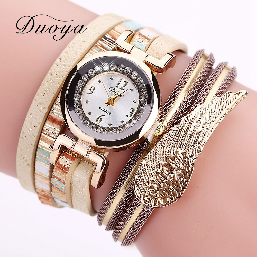 Duoya Brand Watches Women Dress Feather Pendant Gold Luxury Leather Strap Bracelet Lady Wristwatches Gift Quartz Watch DY074 high quality gold bracelet watches women luxury brand leather strap quartz watch for women dress wristwatches female clock ac183